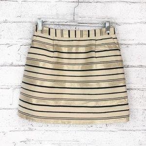 J Crew Mini Skirt Gold Black Stripe Metallic Silk